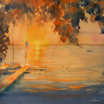 Clear Lake Sunset - 28 x 21 - Watercolor