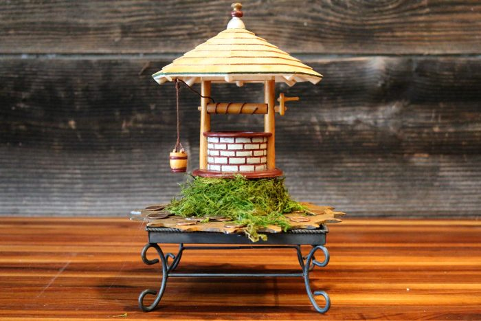 Wishing Well - 9 x 11 x 7 - Found wishing well and stand, copper pennies, metal saw blade
