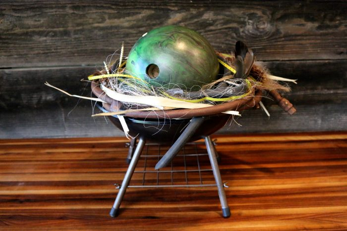 Bowling Ball Nest - 16 x 19 x 16 - Reclaimed Weber kettle, bowling ball, various recycled hose