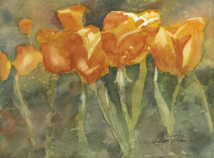 Dancing Tulips - 22 x 19 - Watercolor