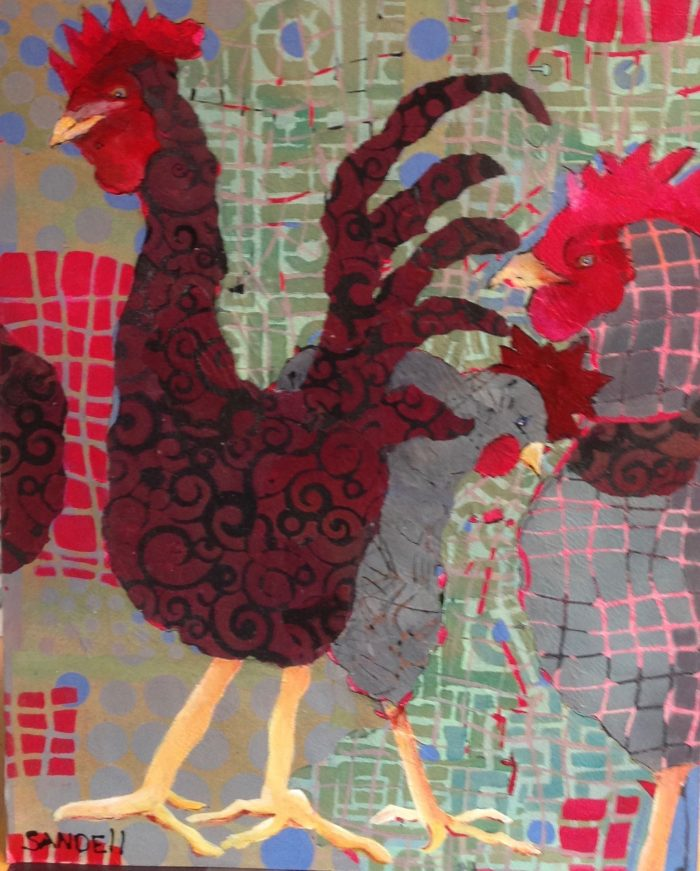 Roosters - 11 x 14 - Collage/Acrylic
