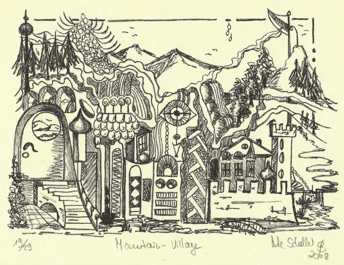 Mountain Village - 8 x 5 - Stone Lithography