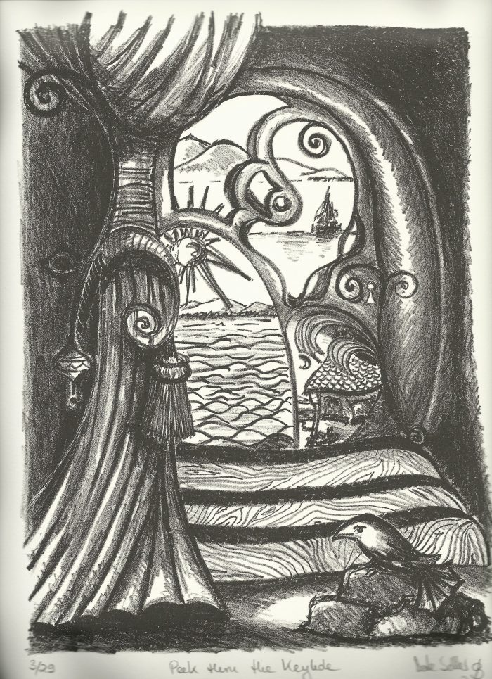 Peek thru the Key Hole - 11 x 12 - Stone Lithography
