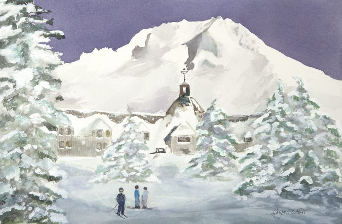 Timberline Lodge - 24 x 20 - Watercolor