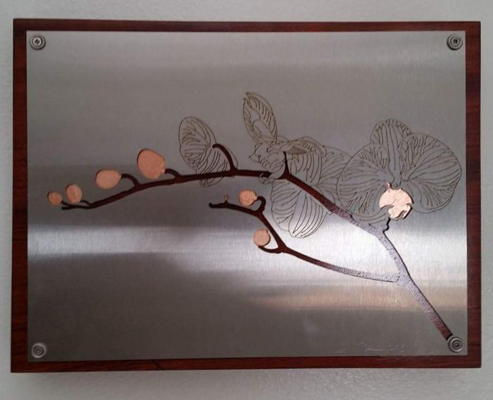 Orchid - 13 x 10 - Stainless Steel, Copper leaf, Bubinga