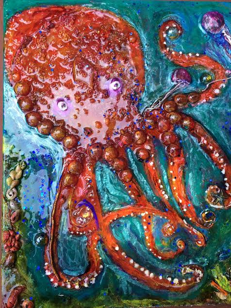 Octopus's Playdate - 12 x 16 - Mixed Media