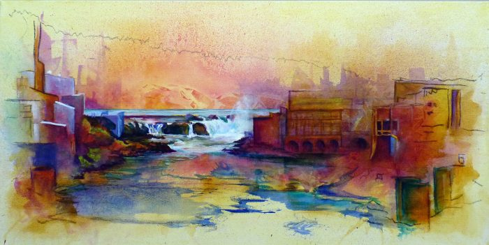 Working the River: Willamette Falls - 36 x 18 - Acrylic