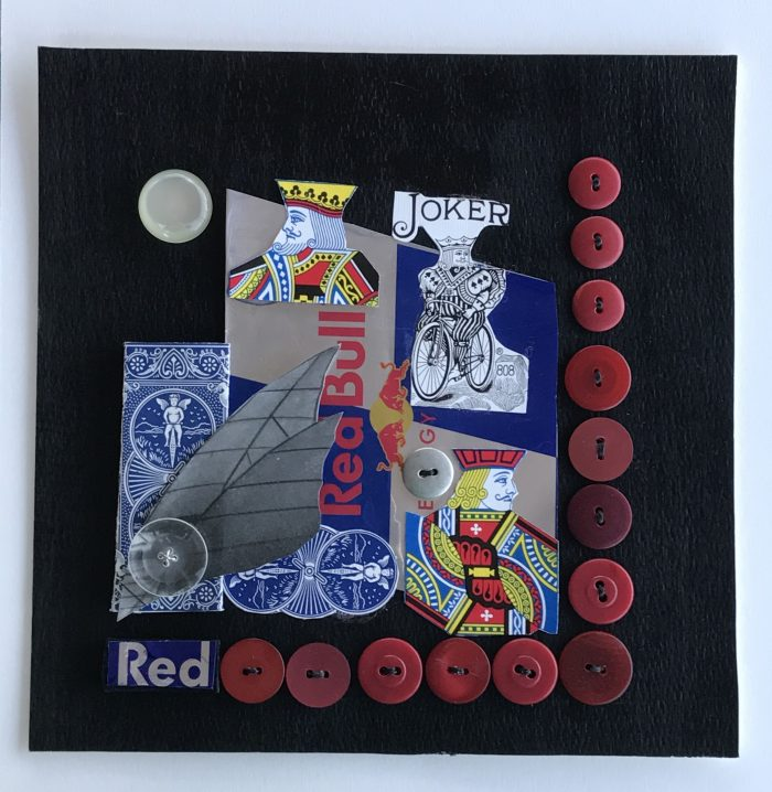Red Bull Buttons - 8 x 8 - Assemblage
