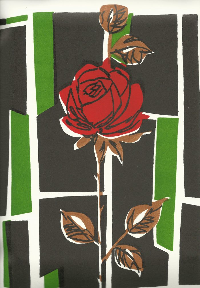 The Red Rose - 9 x 12 - Stone Lithograph