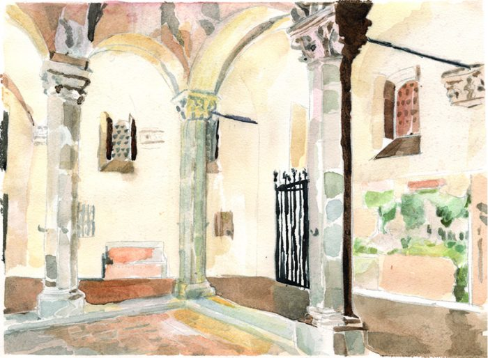 Treasures of the Courtyard - 13.75 x 10 - Watercolor
