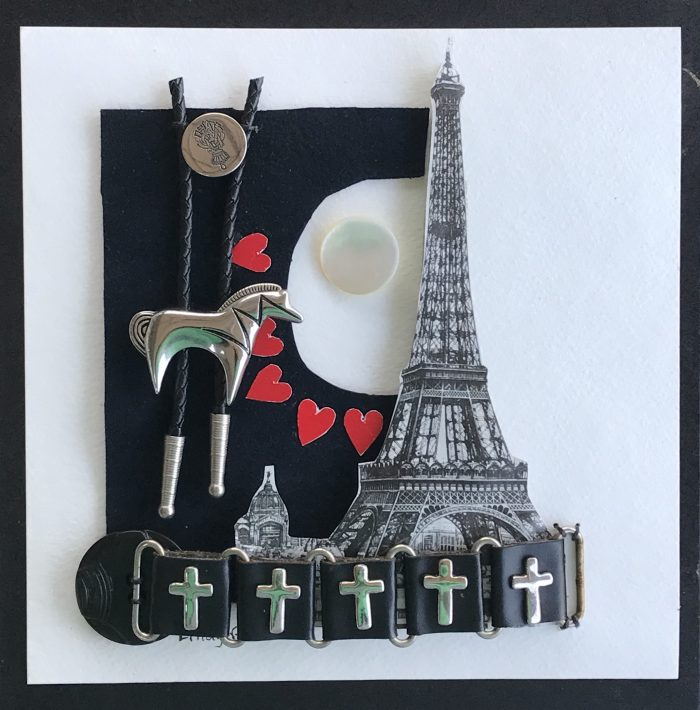 I Love Horses and Paris - 8 x 8 - Assemblage