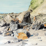 Coastal Rock Fall - 27 x 20 - Watercolor