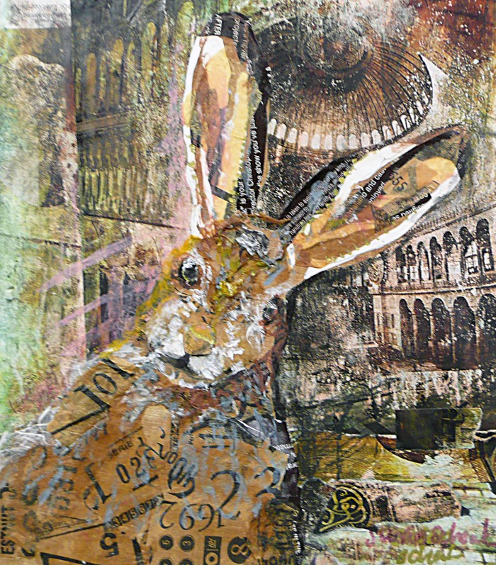 Wild Hare - 14 x 17 - Mixed Media