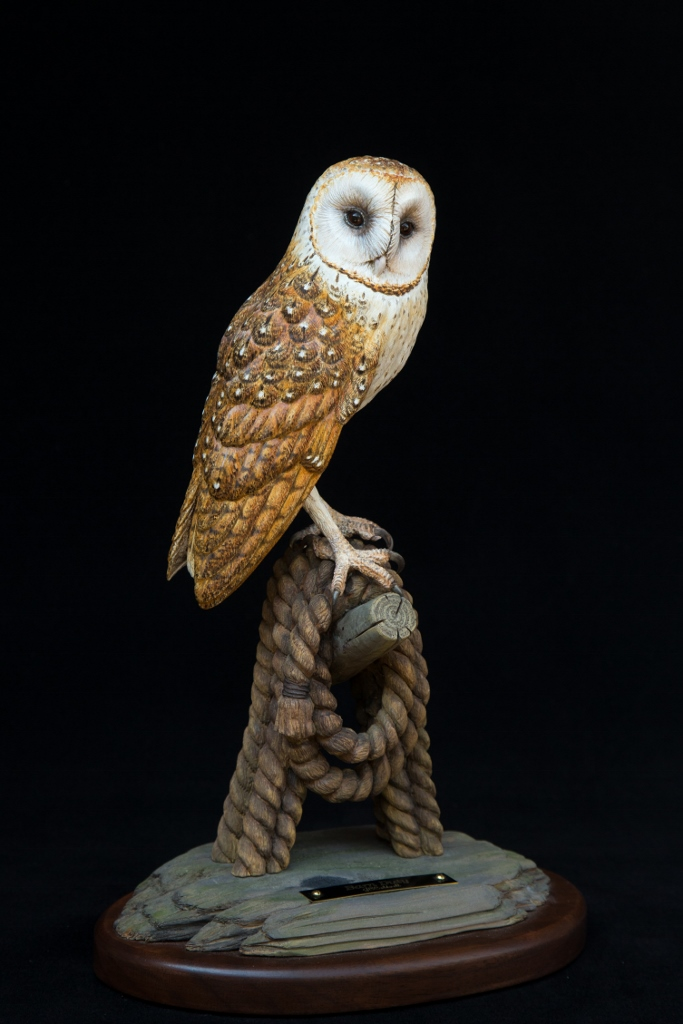 Barn Duty / Barn Owl - 9 x 13 x 6 - Wood Carving