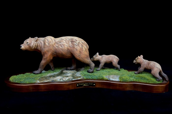Crossing Bear Creek / Grizzly Bear - 22 x 8 x 10 - Wood Carving