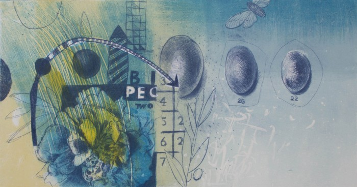 Ellen Emerson - Blue Afternoon - 15 x 8 - Drypoint & Monotype