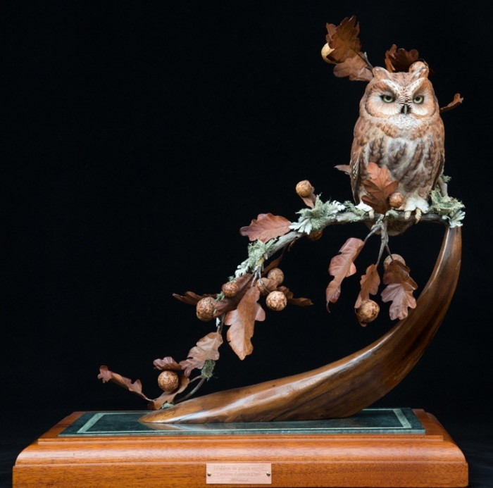 Hidden in Plain Sight/ Screech Owl - 18 x 22 x 12 - Wood Carving