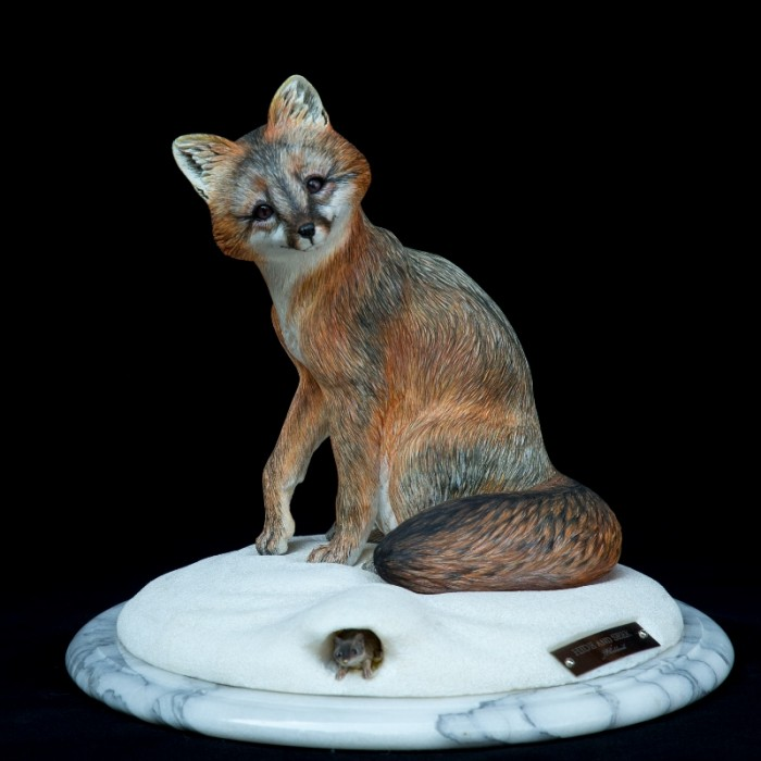 Hide and Seek / Grey Fox - 13 x 12 x 13 - Wood Carving
