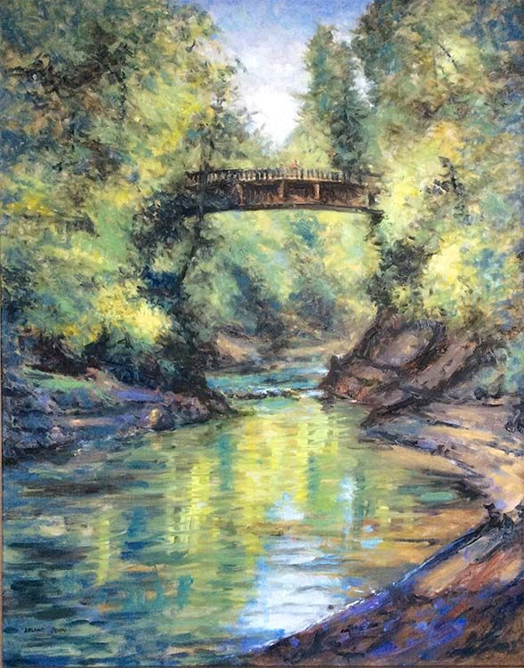 Oswego Creek and Bridge - 24 x 30 - Oil