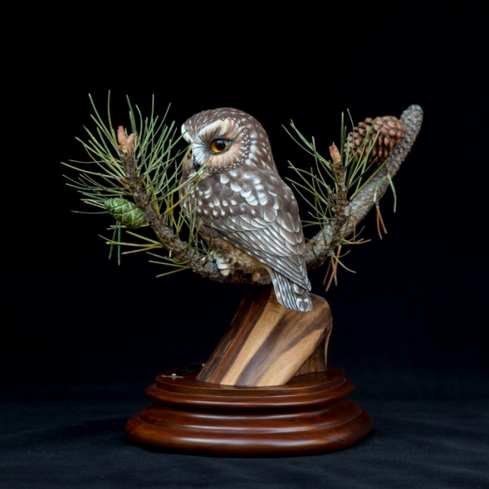 Peaking through the Pines / Saw Whet Owl - 14 x 11 x 12 - Wood Carving