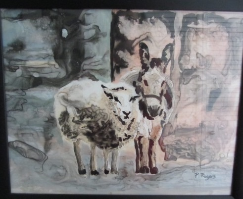 Sheep and Ass in Wonderland - 24 x 18 - Sumi Ink on Mylar