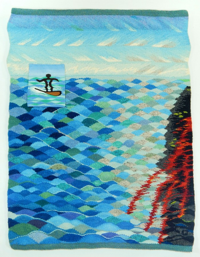 Surfer Dude Meets Kilauea - 24 x 30 - Handwoven Tapestry