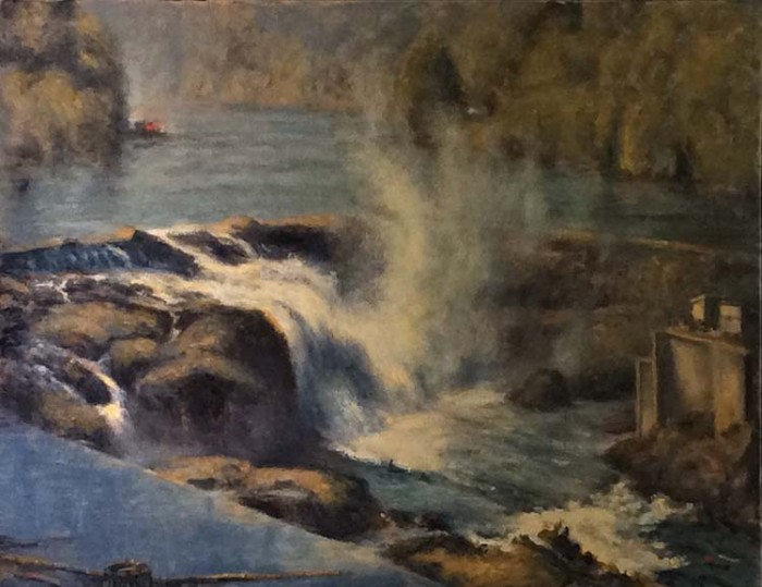 Willamette Falls from Promenade - 28 x 22 - Oil