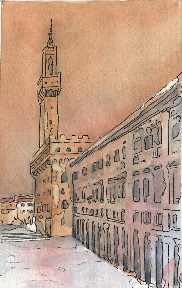 Light on Palazzo Vecchio - 8 x 13 - Watercolor & Ink