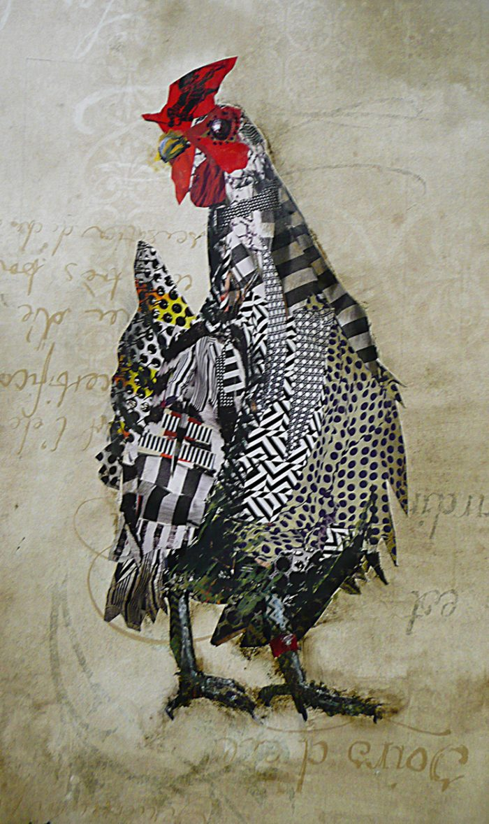 Silver Laced Wyandette - 14 x 17 - Mixed Media/Collage