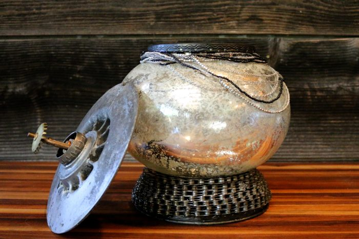 Steampunk Cookie Jar - 10 x 13 x 10 - Found mercury glass, bicycle chains, reclaimed auto disk, sprinkler head, seed beads necklace