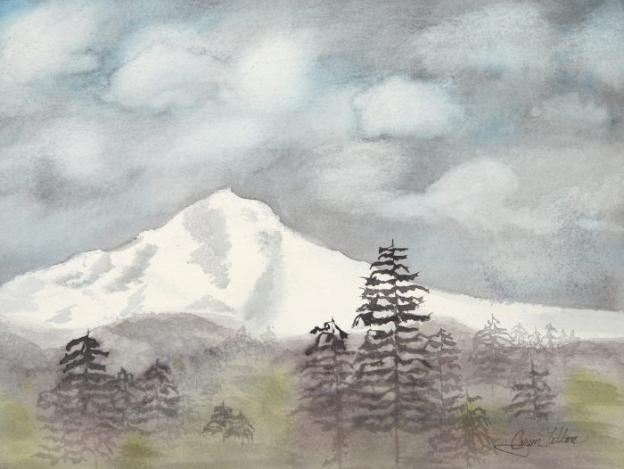 Mt. Hood In The Fall - 17 x 20 - Watercolor