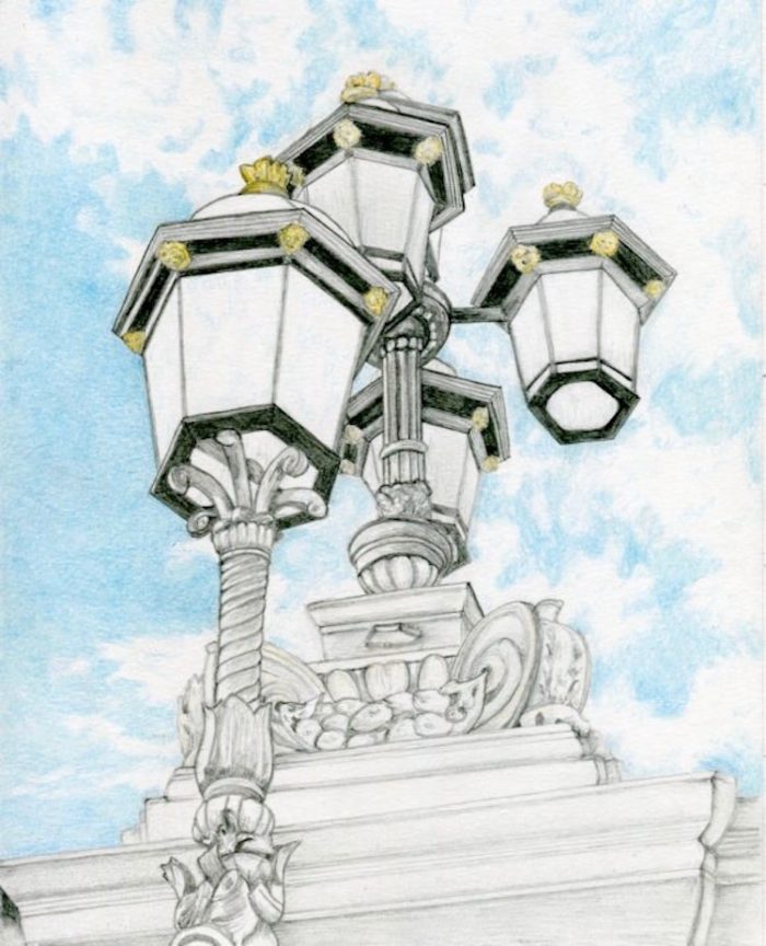 Looking Up in London - 8 x 10 - Graphite & Color Pencil