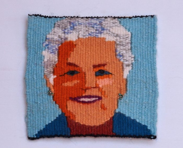 Me, Myself and Eyes (Sara Buse) - 6 x 6 - Handwoven Tapestry