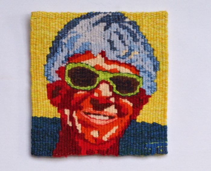 Red Hot Terry (Terry Olson) - 6 x 6 - Handwoven Tapestry