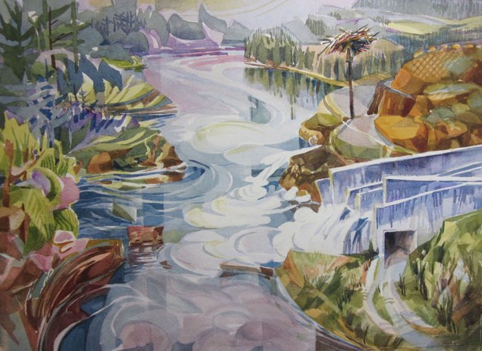 North Fork Dam View (center painting of 9) - 28 x 26 - Watercolor