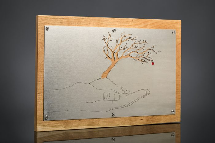 Apple Tree/Perspective - 20 x 13 - Stainless Steel, Metal Foil, Cherry Wood