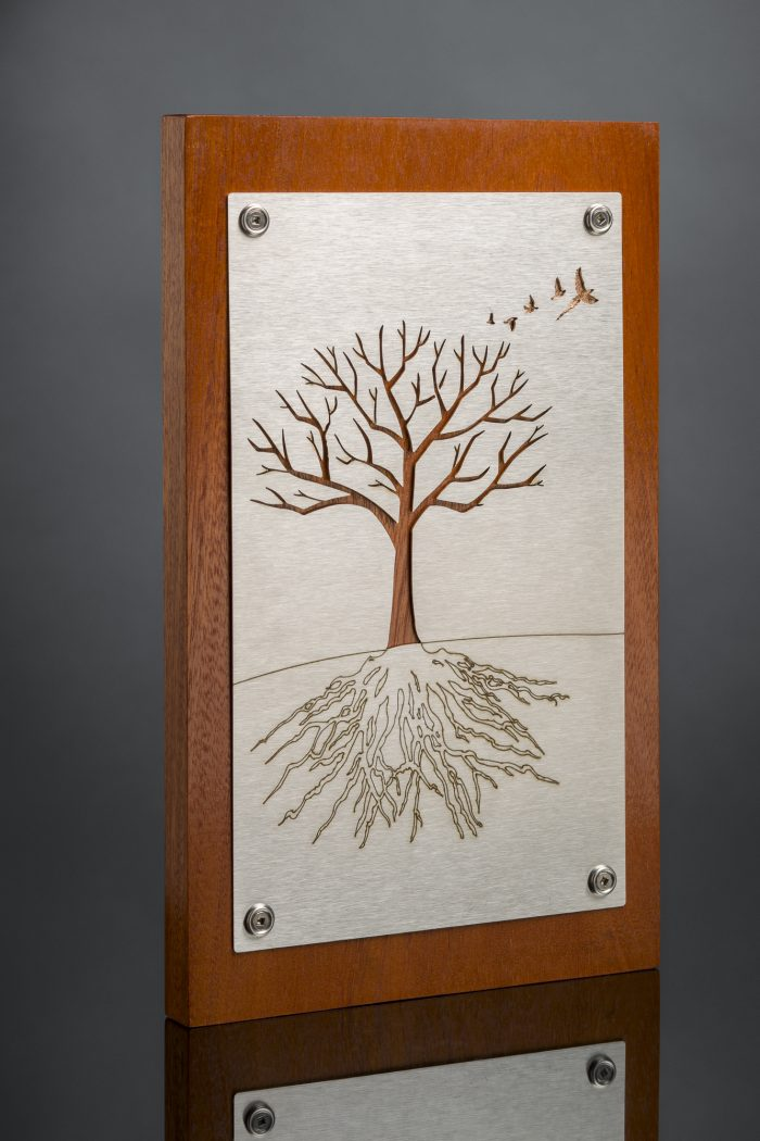 Tree of Life - 7 x 12 - Stainless Steel, Copper leaf, Sapele