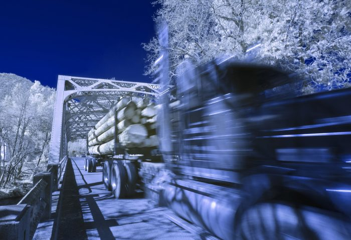 Log Truck over the Applegate Bridge - 24 x 18 - Infra Red Photography