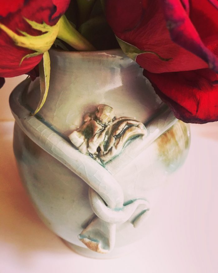 Rope Wrapped Lily Vase - 5 x 6 x 5 - Ceramics