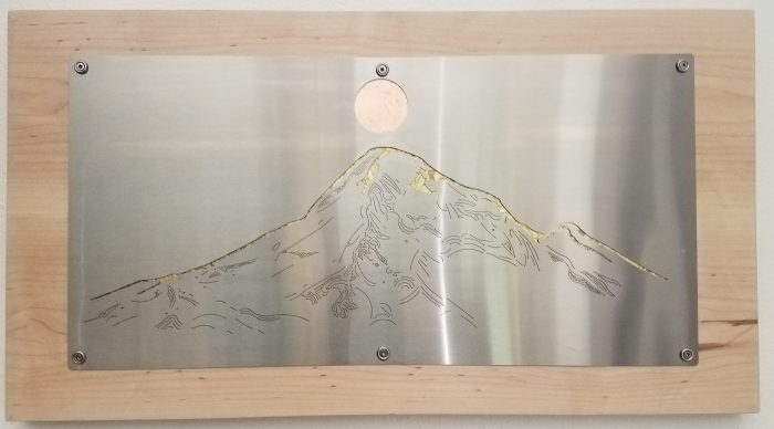 Mt Hood - 24 x 13.25 - Stainless steel, Copper, Maple
