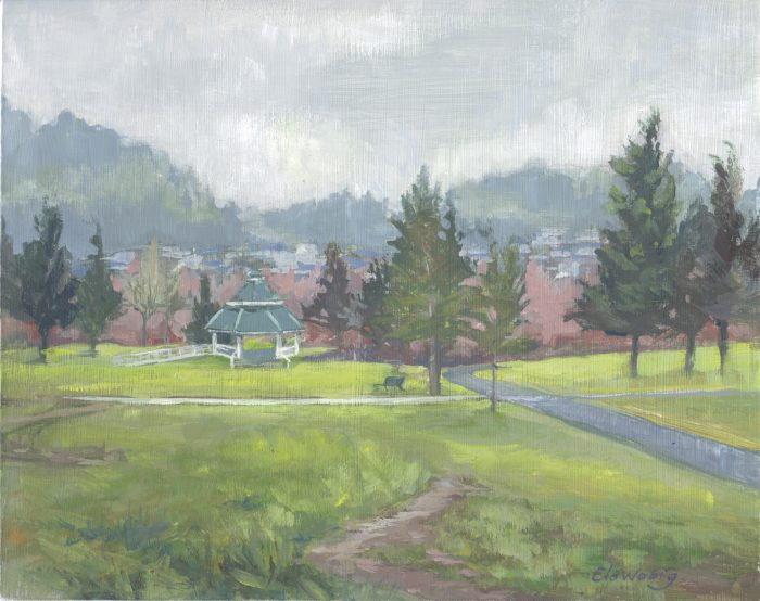 Drizzly Happy Valley Park in January - 8 x 10 - Casein