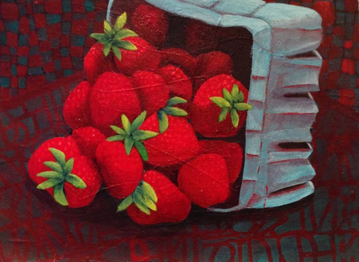 Box of Strawberries - 21.5 x 17.5 - Acrylic, Collage