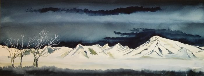 Mt Tom Winter - 33 X 12 - Watercolor