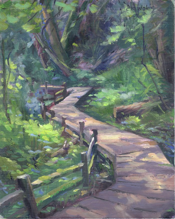 Shady Planks Along Mt. Scott Creek - 8 x 10 - Oil