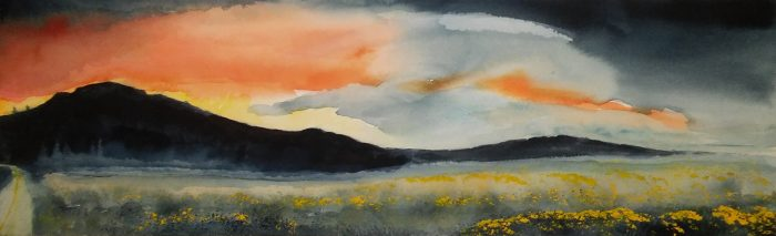 Sierra Sunset - 33 X 12 - Watercolor