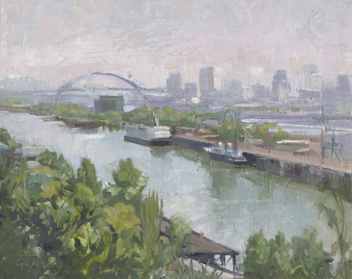 Haze Stretching from Swan Island to Fremont Bridge - 8 x 10 - Oil