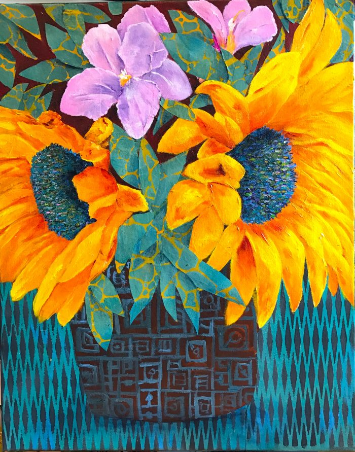 Sunflowers - 16 x 20 - Acrylic, Collage