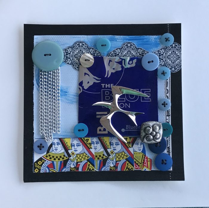 Silver Rain Over Blue Queens - 8 x 8 - Assemblage