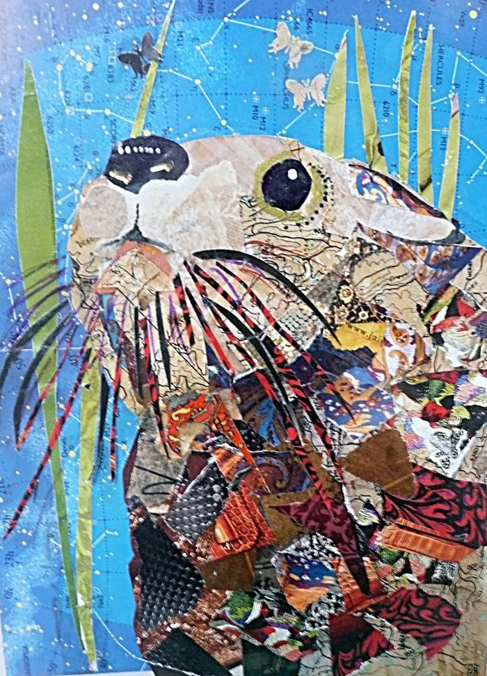 Otter - 14 x 16 - Mixed Media Collage