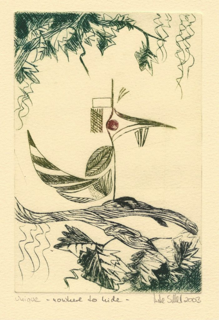 A Bird - 4x6 - Drypoint, One of a Kind